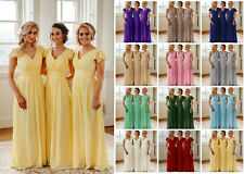 Chiffon Bridesmaid Long Maxi Wedding Dress Ballgown Cap Sleeve Prom Evening UK