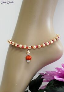 Glass Jewellery Silver Anklet Beads Strand Orange Rhinestone Length 26,5 CM #
