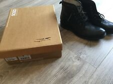 ASOS Black Leather Lace Up Work Boots With Faux Shearling Lining  - Uk 8  - New