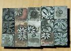 Lot Vintage Letterpress Printing Block Christmas Plants Flowers Holly Poinsettia