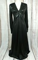 BNWT Zara Wet Look Sparkly Fine Rib Maxi Dress Goth Size Medium RRP £79.99