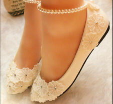 Retro Flat Princess Handmade With Flowers Lace Beach Dancing Wedding Shoes