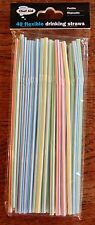 CHEF AID 40 FLXIBLE DRINKING STRAWS MULTI-COLOURED DISPOSABLE CHILDRENS PARTY