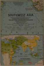 Vintage 1963 National Geographic Map of Southwest Asia