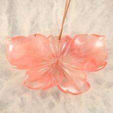 g1482 Carved volcano cherry quartz flower pendant bead