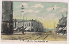 Five Points Looking West Waukesha WI Wisconsin  Postcard
