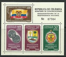 Colombia. 1960. Independencia Hojita Bloque. Sg: ms1047. MLH.