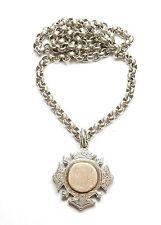 "Antique Victorian Birmingham 1898 Silver CHAIN & ALBERT FOB MEDAL 92.5g 22"""