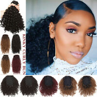 Thick Puff Bun Kinky Curly Ponytail Clip In Hair Extension Drawstring for Human