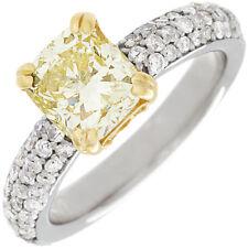 GIA 3.30 Carat Fancy Yellow Cushion Cut Diamond Engagement Ring 18k White Gold