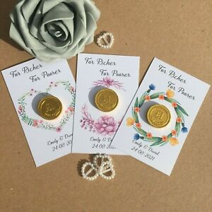 10 x Personalised Chocolate For Richer For Poorer Wedding Favours Love is Sweet
