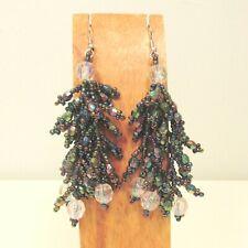 "2 1/2"" Shiny Blingy Multi Color Chandelier Boho Style Dangle Seed Bead Earring"