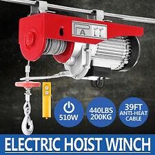 440lbs Mini Electric Wire Cable Hoist Winch Crane Lift Overhead Remote Control