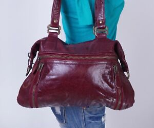 LATICO Large Burgundy Leather Shoulder Hobo Tote Satchel Purse Bag