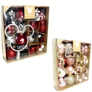 Disney Primark Christmas Mickey Mouse Baubles Red/Pink Decoration NEW Gift Box