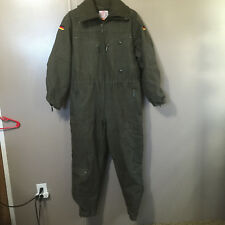 Vintage German Army Olive Green Pilot Jumpsuit/Coverall with Fleece Liner