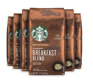 6 bags New fresh Starbucks Breakfast Blend Medium Roast Ground Coffee 12 Oz