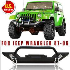 Rock Crawler Front Bumper LED Lights&Winch Plate Fit 87-06 Jeep Wrangler TJ YJ