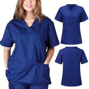 Unisex Women's Nursing Uniform Scrub V-neck Short Sleeve Tops With Pocket Blouse