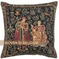 Tapestry Throw Pillow Cover 18x18 Medieval Mille Fleurs Belgian Woven Jacquard