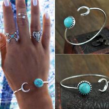 Fashion Boho Turquoise Adjustable Bracelet Round Open Cuff Bangle Women Jewelry