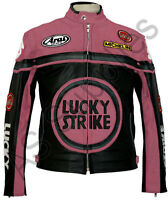 LUCKY STRIKE Veste de Moto en Cuir Blouson Motard - Noir / Rose
