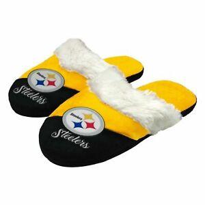 Pittsburgh Steelers NFL Women's Colorblock Script Big Logo Slippers ~ NWT