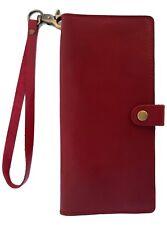 BUCINI Handmade Genuine Leather Cowskin Women's Wristlet Phone Case Wallet-RED
