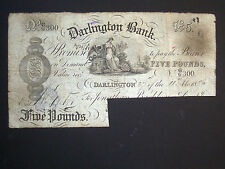 ***Decent 1886 Darlington £5  'G/G300' Banknote ****