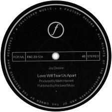 Joy Division. Repro record label sticker. Love Will Tear Us Apart. Factory.