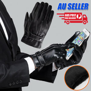 Mens Winter Warm PU Leather Touch Screen Gloves Full Finger Driving Smartphone