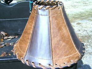 Rustic Leather Lamp Shade, Cowhide panels 0475