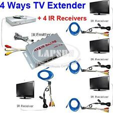Wired AV Transmitter Sender 4 Receiver IR Infrared Repeater Emitter Extender AU