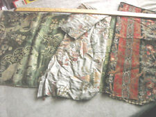 Vintage Antique Fabric 1800s Lot 3 Crettone Asian Brocade Damask Paris