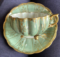 Royal Sealy Japan Iridescent Lusterware Green Melon Footed Cup & Saucer Gold