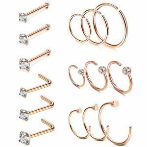 15PCS 20G Stainless Steel CZ L-Shaped Bone Pin Nose Ring Hoop Stud Body Piercing