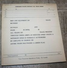 Northern Pacific Train Order Forms  ( ONE PAD)  RARE FIND!
