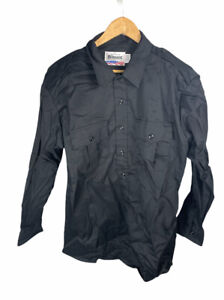New Blauer 8701 Long Sleeve Black Button Shirt 17-17 1/2 32 1/2 - 33 1/2