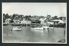 Town Quay Lymington real photo boat scene Salmon old vintage postcard