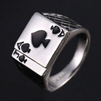 ALS_ Men's Cool Poker Ace of Spades Stainless Steel Ring Fashion Jewelry Gift Fa