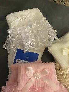 Baby Girls Frilly Lace Socks Pearl Ribbon Baby Socks Cream White Pink 000 to 3.5