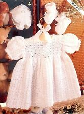 (153) 3Ply Crochet Pattern for Baby Dress, Bonnet and Bootees, 16-20''