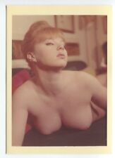 Curvy Hot Woman Huge Breasts Cleavage 1950 Original Nude Color Photo  B6949