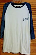 10 DEEP MEN'S CASUAL PULLOVER SHIRT 2X CREAM BLUE CREW NECK ¾ SLEEVES