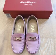 Salvatore Ferragamo Womens Saba 1cm Lilac Leather Loafers US 7 M / EU 37.5