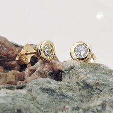 375 Gelbgold Ohrstecker Ohrringe Goldohrringe Stecker, 6mm Zirkonia, 9Kt GOLD