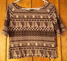 Junior's Size XL Print Top Blouse Shirt Tan Black Eye Candy One Step Up