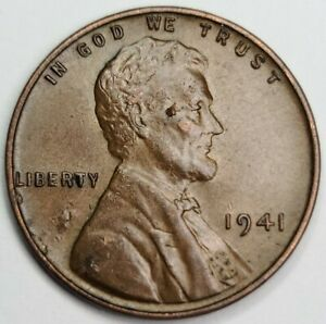 1941 Lincoln Wheat One Cent USA Penny Philadelphia Mint UNC. * FLAWED PLANCHET *