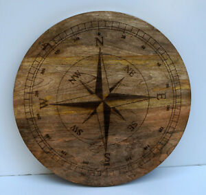 Nautical style compass directional design wall hanging wooden teak decor board