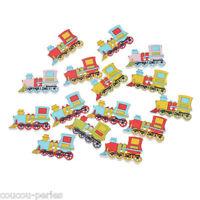 50PCs Mixed Train-shape Wood Buttons 2-Holes Scrapbook Craft Decoration 20x32mm